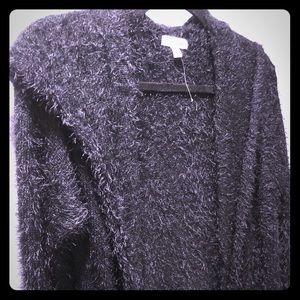 Shawl collar long fuzzy maxi coat